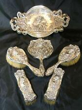 STUNNING ART NOUVEAU SILVER MOUNTED 6PC DRESSING TABLE SET HM W & H 1904