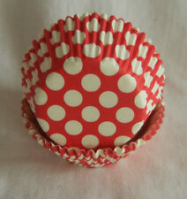 50 white dot red cupcake liners baking paper cup muffin cases 50x33mm