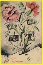 cpa Fantaisie Gruss Aus BONJOUR de TOULOUSE Fleurs Oeillets Multivue Femmes