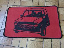 Retro Mini car short pile rug / mat non slip gel back red black brand new