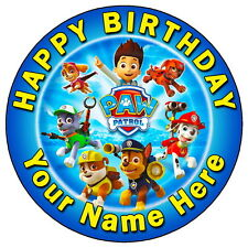 "PAW PATROL TEAM PARTY - 7.5"" PERSONALISED ROUND EDIBLE ICING CAKE TOPPER"