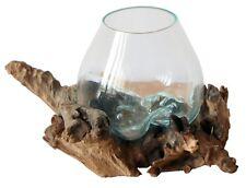 Tolle GLAS Vase Ø 12 - 13cm auf Teakholz Gamal WURZEL Deko Bali Geschenk Glas S
