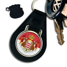 MONACO FLAG COAT OF ARMS  LEATHER KEYRING / KEYFOB GIFT