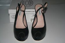 New Steve Madden Women's ALLUDDE Slingback Pump Black Leather,Us 9 M Eur 40M