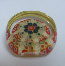 STRATHEARN GLASS FACETED MILLEFIORI PAPERWEIGHT YELLOW RED BLUE GREEN