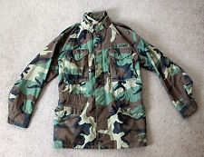 Vintage 1980's COLD WEATHER FIELD COAT Mens Small Long Military Camo Army Jacket