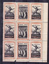 1924 France Olympic games poster stamp cinderella corner sheet block of 9 MNH
