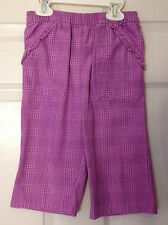 GIRLS 5T PANTS BY FADED GLORY EUC PURPLE PLAID TWO FRONT POCKETS WITH RUFFELS