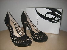 Nine West Shoes Size 11 M Womens New Speed Up Black Suede Open Toe Pumps Heels