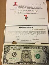 Santa Claus One Dollar Bill Uncirculated - Great Gift - REAL MONEY