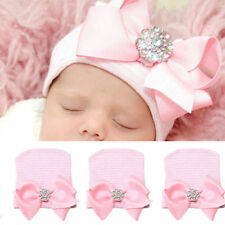Newborn Pink for Baby Infant Girl Bowknot Diomand Hospital Cap Beanie Hat SG
