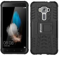 AMZER Dual Layer Hybrid Warrior Case + Stand Cover ASUS ZenFone 3 ZE520KL- Black