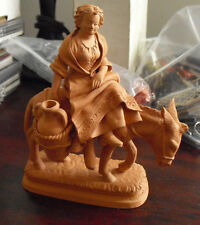 "Vintage Grasso Italy Terracotta Pottery Woman on Mule Donkey Figurine 5 3/4"" T"