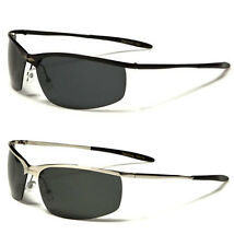 2 Pairs X-Loop Men Polarized Lens Semi Rimless Metal Sunglasses Black & Silver