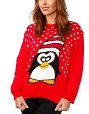 LADIES BRIGHT RED PENGUIN LONG SLEEVED XMAS WINTER CHRISTMAS JUMPER UK 12-14 NWT