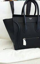 Authentic New 2014 CELINE PEBBLED Small Mini Black Luggage Leather Tote Bag