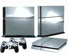 Chrom Silver Decal Skin Sticker for Playstation 4 PS4 + 2 Free Controller Covers