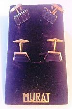 MURAT FRENCH 1950s MEN GOLD PLATED CUFFLINKS- 2 PAIRS ON COLLECTIBLE DISPLAY-NEW