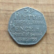 250TH anniversaire-samuel johnson's dictionary of the english language 50p coin