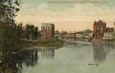 State Street Bridge and Shenango River Sharon PA Postcard 1911