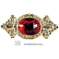 Ladies Red Gem Brooch Regal Victorian Costume Jewellery Fancy Dress