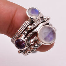 925 Sterling Silver Ring Size US 7, Natural Rainbow Moonstone Jewelry CR2754a