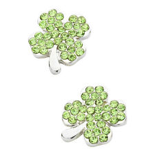 Green Irish 4 Leaf Clover Fashionable Earrings - Stud - Sparkling Crystal