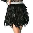 Women's Black Sexy Short Mini Skirts Peacock Feather Party Cosplay Costume FN110