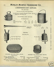 1908 PAPER AD 4 PG Lumbermen's Camp Cooking Supplies Horn Torch Land Lookers
