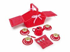 Brand New 18 pieces metal Picnic Tea Set basket for kids role play