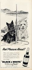 "1958 Black & White Scotch Whisky Scottie Fishing ""Reel Pleasure Ahead!"" PRINT AD"