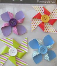 Pinwheel Flowers Adhesive Back Pack of 4 Great for Card Making & Scrapbook NEW