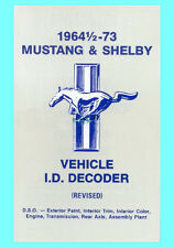 Ford Mustang Data Plate VIN decoder 1965 1966 1967 1968 1969 1970 1971 1972 1973