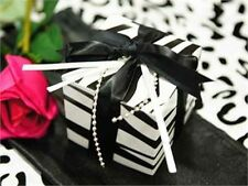 "100 3"" x 3"" Zebra Black and White Wedding Favor Box Party Decorations Wholesale"