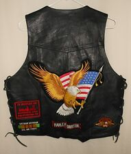 LEATHER VEST BIKER STYLE CUTS PATCHES FLASH HUDSON LEATHER SIZE 44