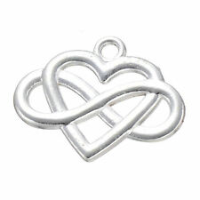 10x Charms Heart Infinity Friendship Pendant Jewellery Craft Silver Plated /S811