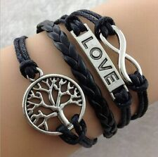 Hot DIY Hot Infinity Love Anchor Leather Cute Charm Bracelet plated Silver #j39