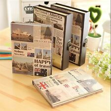 """Happy Travel"" 1pc Luxury Lock Book Diary Journal Planner Agenda Box Package"
