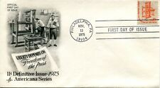 November 13th, 1975 Freedom of the Press Stamp First Day Cover EX Condition