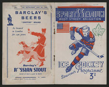 1938 FIRST UK ENGLISH NHL HOCKEY PROGRAM ~ MONTREAL CANADIENS DETROIT RED WINGS