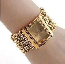 New Gold Color Womens Diamond Analog Quartz Metal Wrist Watch for Party Dress