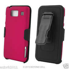 Motorola Droid Razr Maxx HD Hard Case+Holster Combo w/ Swivel Belt Clip Pink