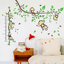 Combo Kids Wall Stickers Naughty Monkey Playing Animal Hight Chart Peel & Stick