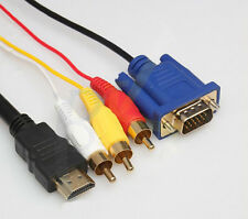 1.5M HDMI to 3 RCA VGA For Xbox 360 PS3 15 Pin Converter Cable 5Feet 1080p Gold