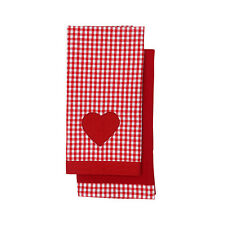 Dexam Vintage Home Pack of 2 Tea Towels Claret Red Gingham Dish Drying Cloth New