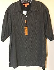 Sette Ponti Shirt Size Large 100% Silk Button Down New With Tags Men's Black