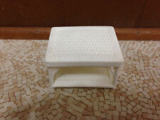 1983 Vintage Barbie Doll Wicker Rattan End Table Living Room Patio Furniture