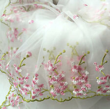 "1 Yard Lace Fabric White Organza Pink Floral Embroidery Wedding Bridal 51"" width"
