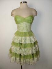 BETSEY JOHNSON Evening Size 8 Chiffon & Lace Tiered Strapless Party Dress 8