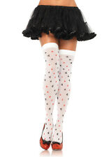 Club Print Thigh High Stockings, Leg Avenue, Alice In Wonderland Queen Of Hearts